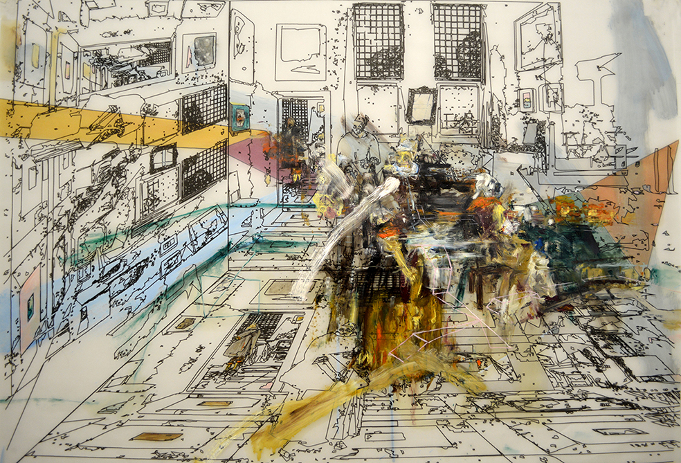 """Interior with Painter, Woman reading and Maid sweeping"" 2015. Mixed media on paper. 70x 100 cm"