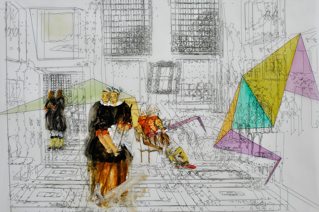 """Interior with Painter, Woman reading and Maid sweeping"" 2013. Mixed media on paper. 50 x 70cm"